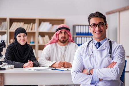 69482922 - doctor consulting arab family at hospital